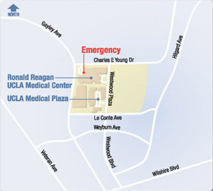 map of UCLA Medical Plaza and area in Westwood.
